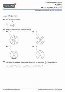 worksheets for grade 6 15418 grade 6 math worksheets and problems second quarter at school edugain global