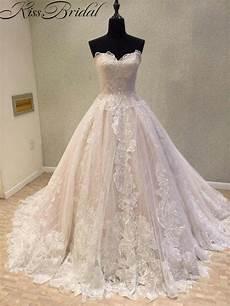 newest wedding dress 2018 vintage lace bride dresses corset back appliques flower long train