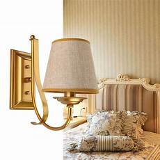 modern gold wall lights hallway bedroom bedside l sconce white black iron fabric lshade