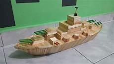cara membuat miniatur kapal perang dari stik es krim youtube