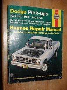 old car owners manuals 1993 dodge ram wagon b350 security system 1974 1993 dodge truck service manual haynes shop book ram trailduster ramcharger ebay