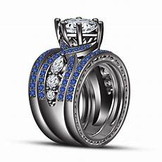 sapphire black gold trio wedding engagement rings bridal ring his and ebay