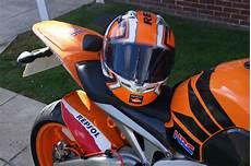 honda repsol helm kbc 2r repsol helmet with the bike