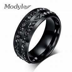 modyle 2018 new fashion men rings black crystyal rings stainless steel men wedding rings in