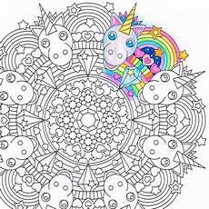 rainbow unicorn mandala coloring page printable