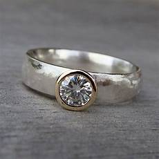 crafted moissanite recycled 14k gold and recycled sterling silver wedding ring made to
