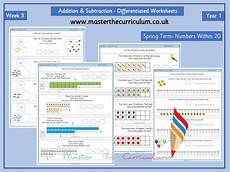 differentiated addition worksheets year 1 9866 year 1 week 3 editable addition and subtraction differentiated worksheets within 20