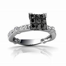 cheap real wedding rings with black and white diamonds for