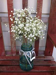 25th wedding anniversary party decor or centerpiece ball jar baby s breath sprayed with silver
