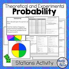 probability experiments worksheets 5761 probability theoretical and experimental stations activity 7 sp c 5