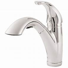 pfister faucets kitchen pfister parisa single handle pull out sprayer kitchen faucet in polished chrome lg534 7cc the