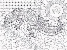 lizard zentangle coloring page by inspirationbyvicki on