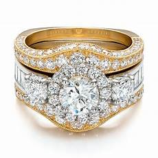 estate two tone wedding and engagement ring 100619 seattle bellevue joseph jewelry