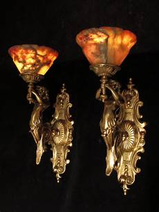 pair of art deco bronze alabaster wall light sconces with