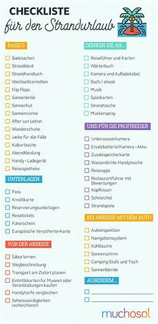 checkliste urlaub alles im checkliste f 252 r den strandurlaub
