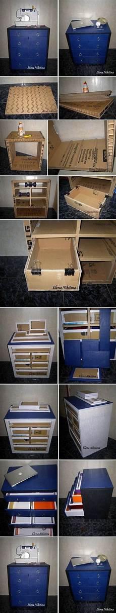 recycling moebel individuelle stuecke fuer wenig diy karton kommode mit schubladen diy handwerk basteln diy