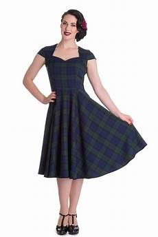 aberdeen 50s retro tartan swing petticoat kleid v hell