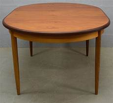 mid century oval extendable in dining table in teak from g