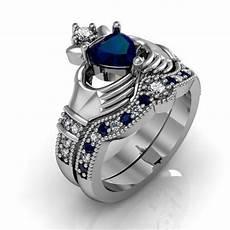 size 5 9 beautiful heart cz wedding engagement ring silver blue sapphire irish