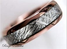 Meteorite Inlay Ring, Engagement Rings, His And Hers, Rose
