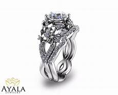 floral diamond engagement ring set unique bridal set in 14k white gold ebay
