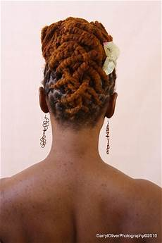 brown colored dreadlock updo hairstyle back view thirstyroots com black hairstyles