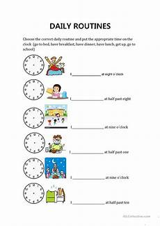 daily routines and hours english esl worksheets for