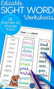 spelling worksheets using your own words 22514 editable sight word worksheets for 38 different themes sight word worksheets sight words