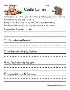 english capitalization worksheets resources