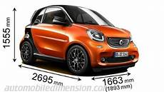 comparatif citadines 2018 dimensions of smart cars showing length width and height