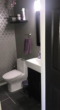 gray and purple finally finished powder room paint is behr elephant skin with diy accent wa