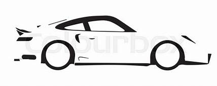A Fast Car In Silhouette Over White  Stock Vector