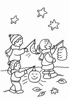 ausmalbild kindergarten kinder beim laternenumzug