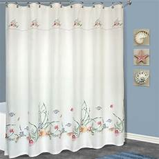 seashell shower curtain united curtain co seashell polyester shower curtain