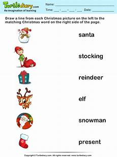 match christmas words and pictures worksheet turtle diary
