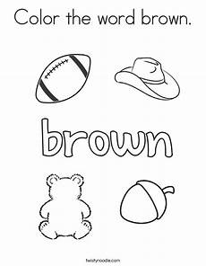 color the word brown coloring page twisty noodle