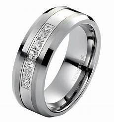 diamond wedding band ring men s tungsten band 8mm modern
