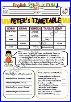 school timetable worksheets peter 180 s timetable esl worksheet by bburcu