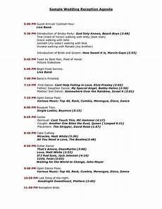 wedding reception program sle templates sle wedding reception agenda pdf in 2019