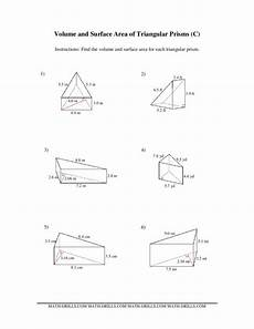 volume and surface area of triangular prisms c worksheet for 6th 10th grade lesson planet