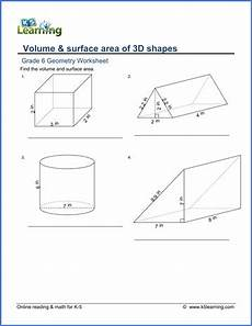 grade 6 math worksheet geometry volume and surface area of 3d shapes k5 learning