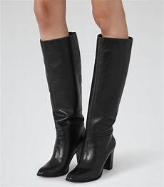 black knee high leather boots reiss