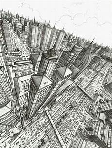 3 Point Perspective City Drawing
