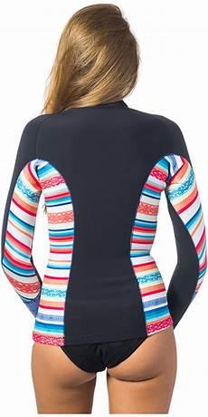 rip curl g bomb 1mm sleeve front zip neo jacket stripe wve6kw wve6kw womens neoprene