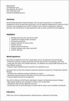1 automotive general manager resume templates try them