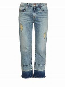 j brand adele distressed cropped flared in blue lyst
