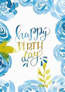 Aquarell Malvorlagen Happy Birthday Happy Birthday Aquarell Blumen Blau Gru 223 Karte Farbcafe