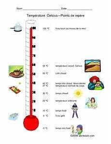 temperature celsius points de repere worksheet for 2nd 3rd grade lesson planet
