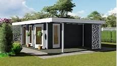 Gartenhaus Flachdach Anbau Vordach 4 5mx3m 2m 40mm Holz