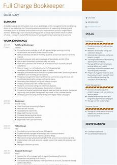 bookkeeper resume sles and templates visualcv